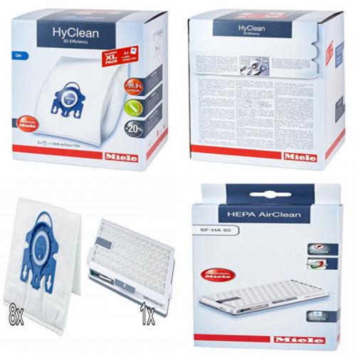 Filtre si Saci de praf Miele Pachet XL, 8 saci tip G/N + filtru HEPA